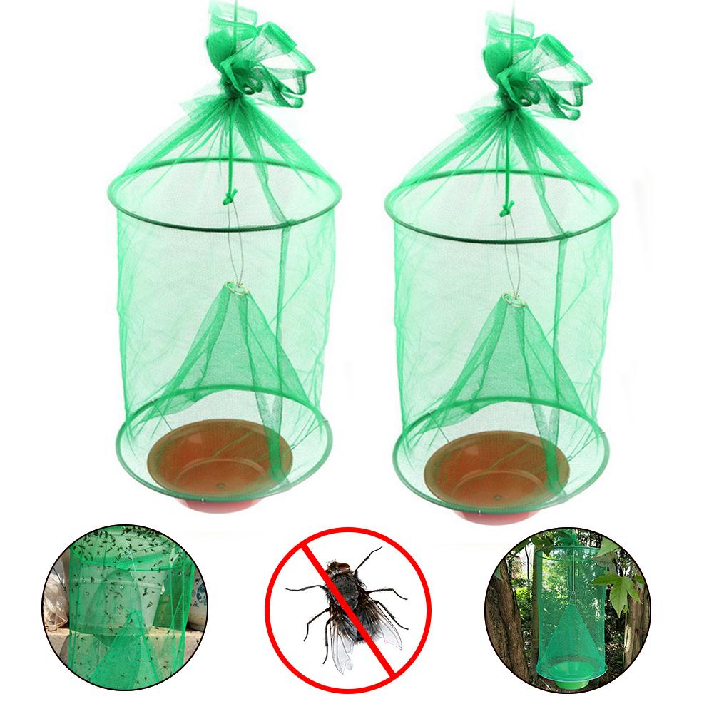 2 uds. Jaula colgante reutilizable para moscas atrapamoscas plegable para Control de plagas, jaula para insectos voladores para exteriores, Parque agrícola, restaurante