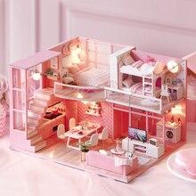 DIY Puppe Haus Möbel Traum Engel Miniatur Puppenhaus Spielzeug für Kinder Nette Familien Haus Casinha De Boneca Lol Haus