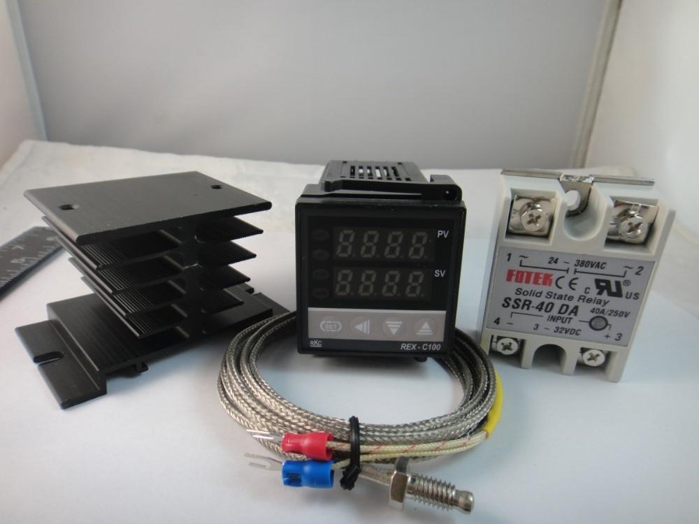 100-240VAC PID Temperature controller + Max.40A SSR+ heat sink + 2M thermocouple K probe