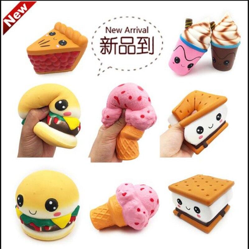 Juguetes blandos Kawaii gigantes de levantamiento lento de helado palomitas hamburguesa galleta estrés juguete Jumbo pastel pan apretar Juguetes