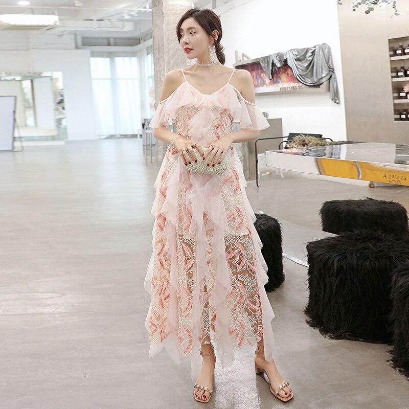 YIGELILA-فستان صيفي طويل شبكي مكشكش ، ملابس نسائية ، أحزمة سباغيتي ، ياقة على شكل v ، مجموعة 64828