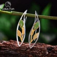 Lotus Fun Plata de Ley 925 auténtica Natural creativa hecha a mano joyería fina primavera en el aire hojas pendientes de gota para las mujeres