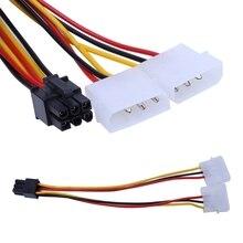 10 teile/satz Grafiken Power Adapter Kabel 6PIN Drehen Doppel 4pin Dual Molex 4-Pin Zu Einem PCI-E 6- pin Power Stecker Y Adapter Kabel