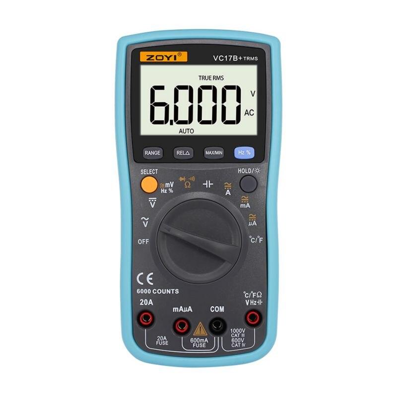 Multímetro Digital VC17B, 6000 recuentos de retroiluminación CA/CC, amperímetro voltímetro Ohm, medidor portátil, multímetro