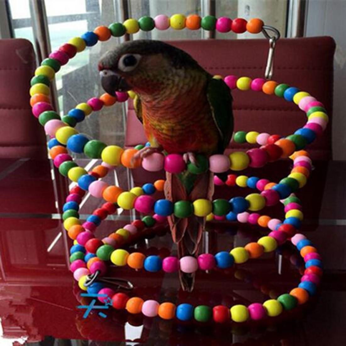 Новая забавная Радужная бусина 100 см, качели, попугая, лестница для птиц, деревянные игрушки для домашних животных, аксессуары для домашних ж...