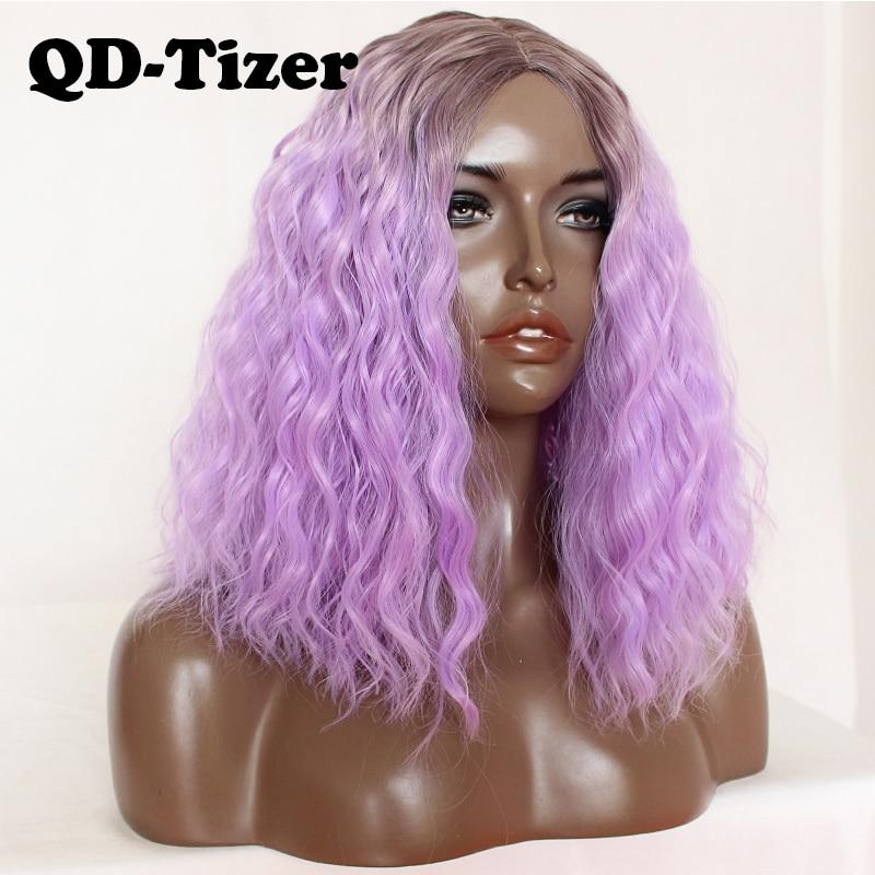 QD-تايزر فضفاض مجعد أومبير الأرجواني بوب الباروكة هالوين شعر مستعار اصطناعي غلويليس ألياف مقاومة للحرارة تأثيري الباروكات للنساء السود