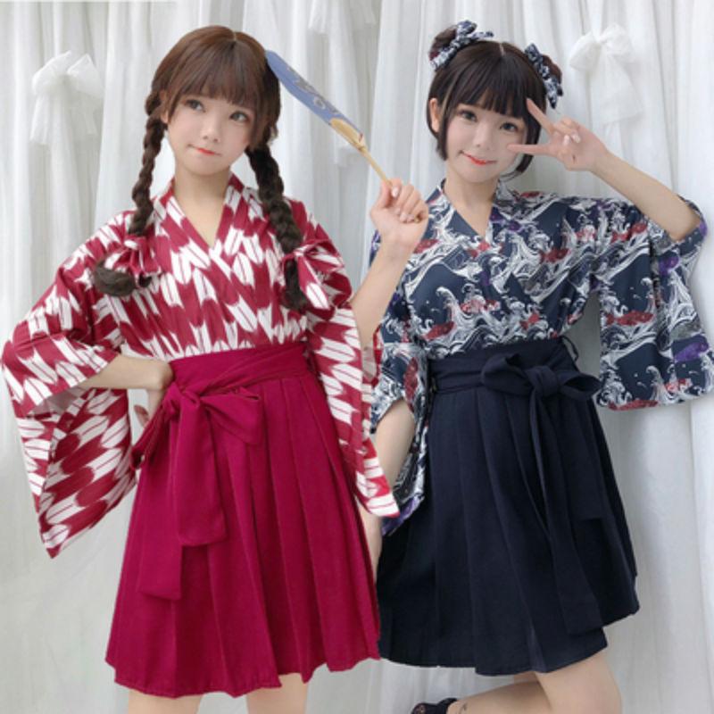 Kimono japonés para mujer Yukata, conjunto de Kimono con estampado de flores y plumas, Falda plisada, Kimono japonés, ropa tradicional, 2 unidades