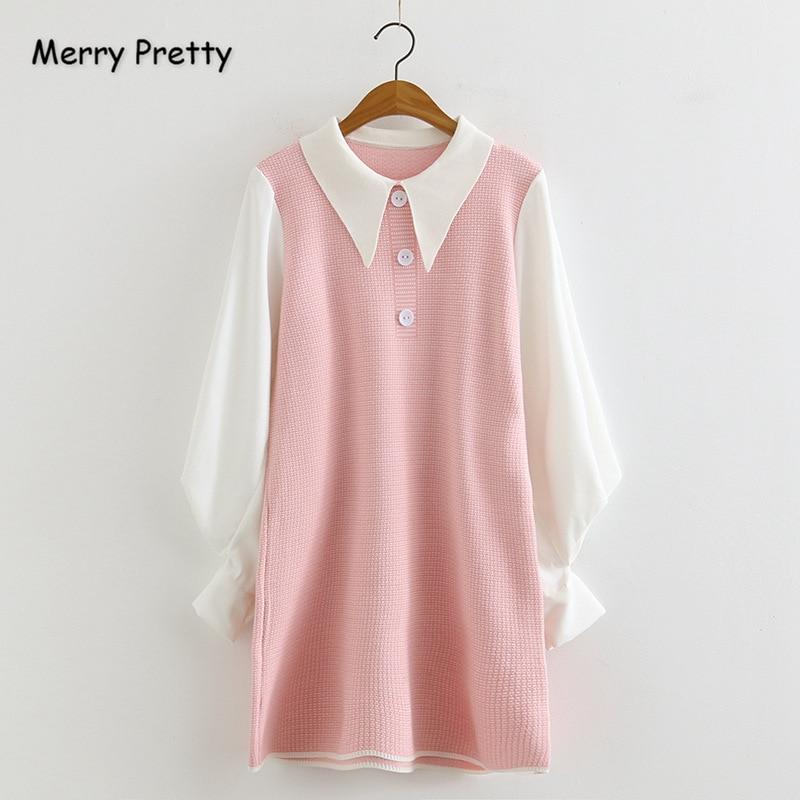 Merry Pretty Womens Patchwork Knitted Dresses 2019 Autumn Winter Lantern Sleeve Peter Pan Callor Sweet Girl A-Line Pink Dress