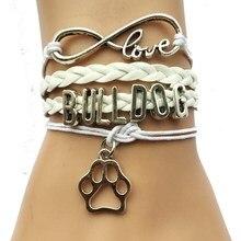 Livraison directe eernité amour bouledogue chien races patte Bracelet-meilleur ami cadeau pour animal de compagnie tigre patte imprimer charme amant 3 couleurs