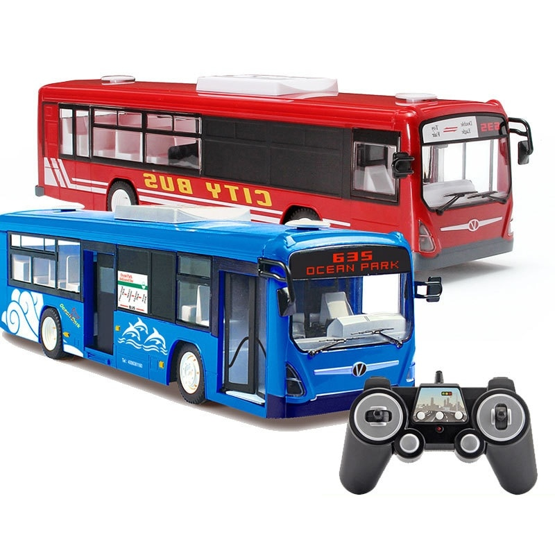 Hot Boy Recharge RC Bus Car Toy E635 2.4G Large One Key Auto Open Door Remote Control Simulation City Bus Borthday Gift