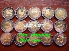 Keine kopie Sowjetunion rote buch 15 Seltene Wildlife tier bimetall münzen Freies verschiffen 15 teile/los metall sammeln russische münzen