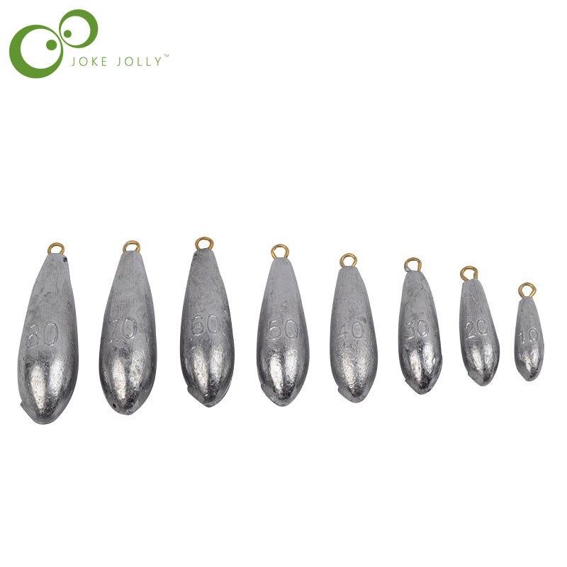 5 unids/lote tamaño de peso 10g/20g/30g/40g/50g/60g/70g/80g gotas de agua pesas de plomo de pesca plomos de pesca accesorios GYH