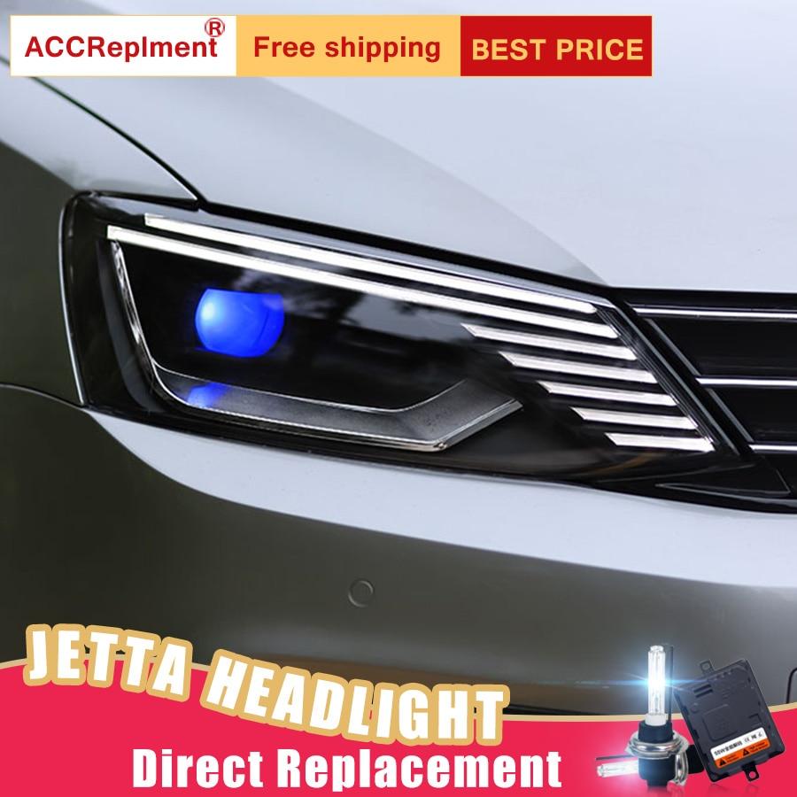 Faros LED de 2 uds para Volkswagen Jetta 2011-2018, luces led de coche, bombillas Ojo de Ángel Xenón HID, KIT de luces antiniebla, luces LED de circulación diurna