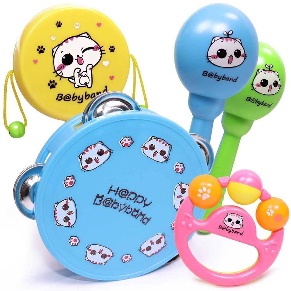 5pcs Baby Rattle Toy Set Music Instrument for Child Kid Drum Maracas Hand Bell Guitar Infant Toddler Education Mobile Boys Girls