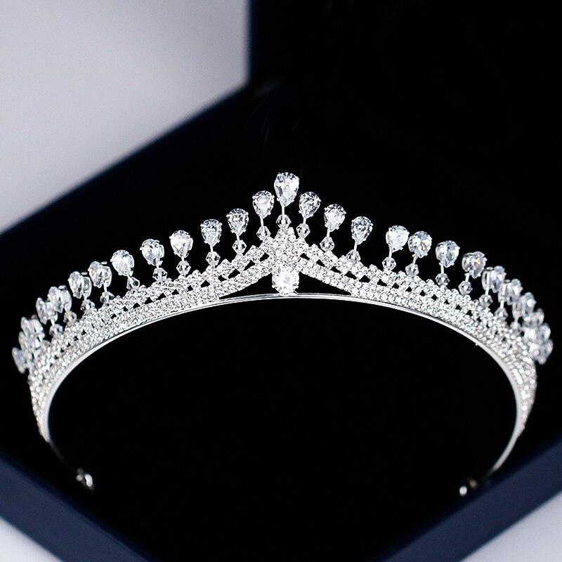 Diadema de lujo para mujer, diadema de cristal con diamantes de imitación, Tiara y corona, diadema para el cabello, accesorios para el cabello para novia de Color plateado, boda