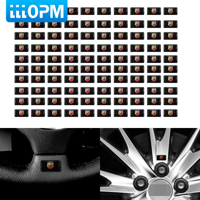 100 Uds pegatina emblema coche pegatina epoxi coche pegatina para volante para Fiat Punto Abarth 500 Stilo accesorios de estilo de coche