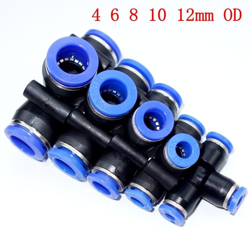 Tube OD Union égale en t   Raccord rapide à connexion rapide 4mm 6mm 8mm 10mm 12mm