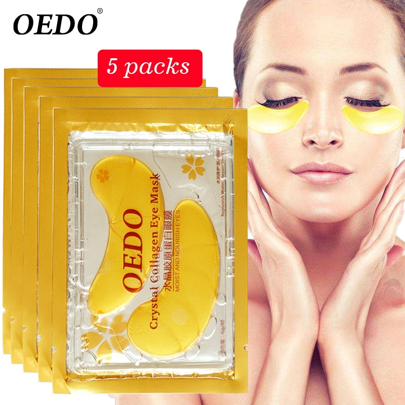 10pcs=5pack Anti-Aging Gold Crystal Collagen Eye Mask Skin Care Patches Beauty Anti Dark Circle Anti-Puffiness Cream