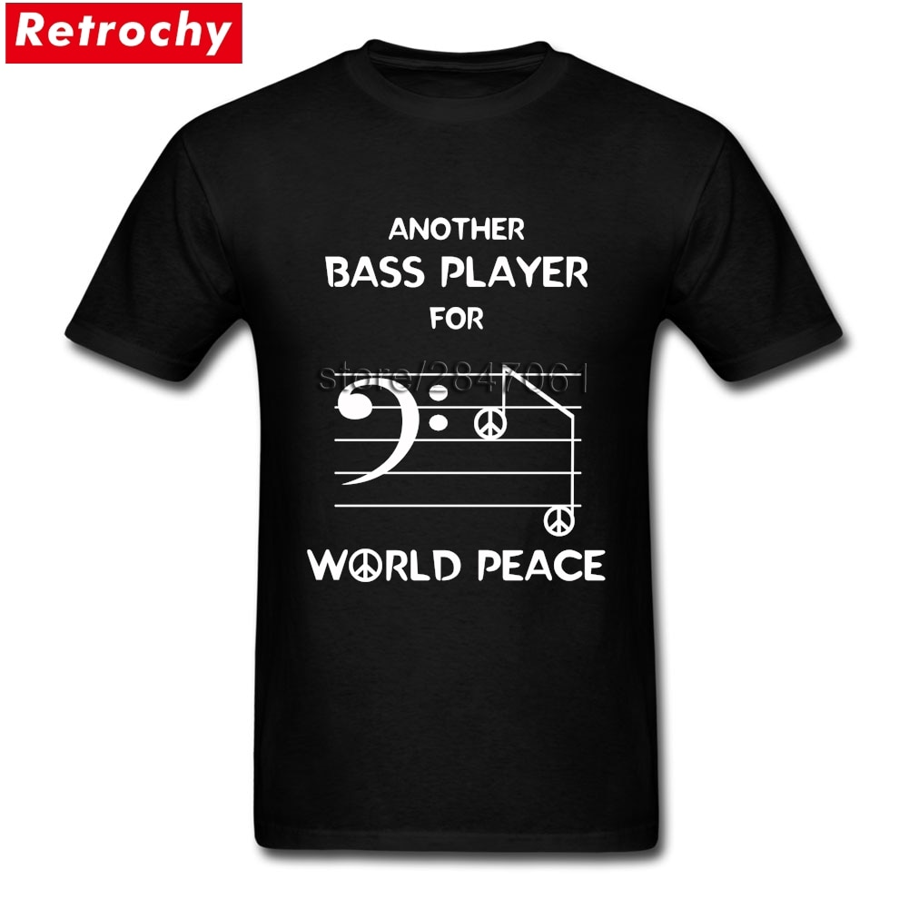 Bass Player Bass Clef Musik Notizen Tees Shirt für Männer 1990 s T Tops O Neck Discount Marke Tees Shirts valentinstag geschenke
