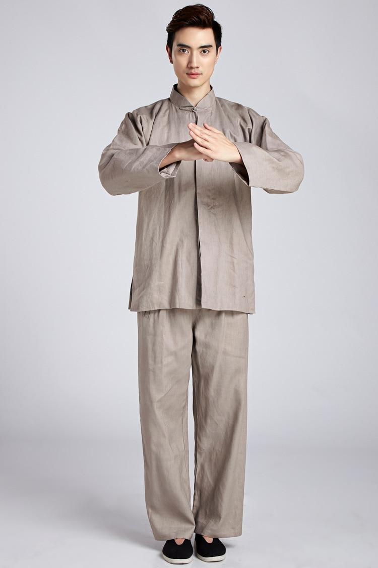 Шанхай история, китайский комплект кунг фу, мужской китайский костюм Тай Чи, короткая рубашка + штаны, льняная форма для кунгфу, 4 цвета|chinese kung fu|kung futai chi | АлиЭкспресс