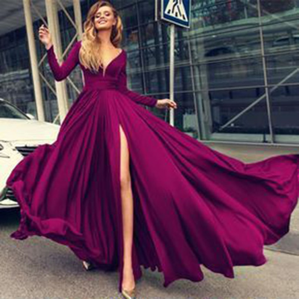 Sexy Prom Dresses Long Side Split Chiffon Prom Gowns Long Formal Women Evening Party Gowns Robe De S