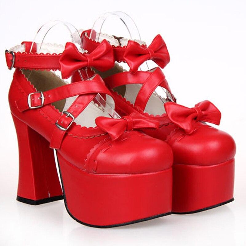 حذاء نسائي من الجلد بكعب عالٍ ، حذاء منصة ، حذاء أميرة ، تأثيري ، أنيمي ، ربيع ، خريف