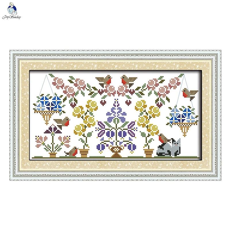 Kits de punto de cruz JoySunday, juego de bordado de flores, jardín de frutas y pájaros, 14 ct, 11 CT, pintura de algodón, regalo, fábrica de arte al por mayor