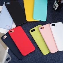 Luxo fino macio cor caso do telefone para o iphone 7 8 6s plus 5 5S se capa de silicone para o iphone x xs 11 pro max xr