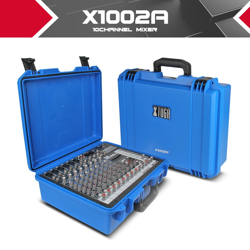 Xtuga-وحدة تحكم خلاط صوت محمولة ، مضخم طاقة مدمج 300 واط × 2 48 فولت فانتوم باور 16 نوعًا من أجهزة ECHO الرقمية للحفلات DJ