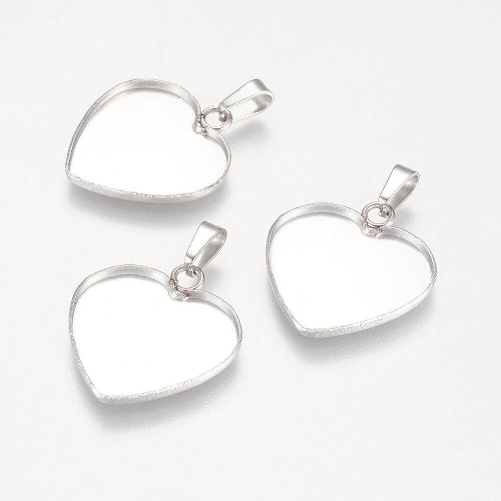 PandaHall 10pcs 16.5x19mm 304 Stainless Steel Metal Jewelry Findings Heart Pendant Cabochon Settings