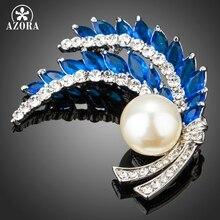 AZORA clair strass feuilles broche bleu cubique zircone simulé perle mode broches pour les femmes nuptiales de mariage bal TP0079