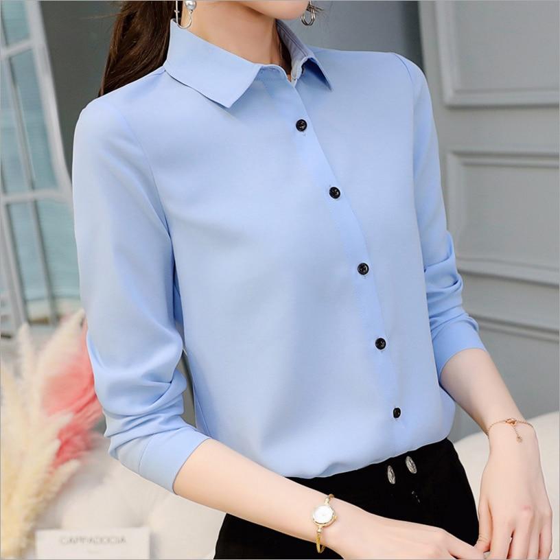 Autumn 2019 New Korean Casual Chiffon Blouse Long Sleeve Elegant Women Tops Women Clothes Slim Women Streetwear Blue White Shirt