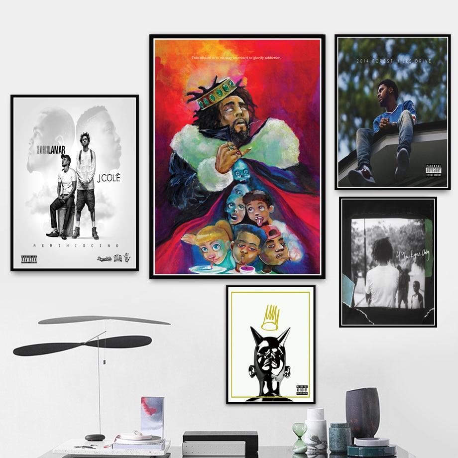 J cole K.O.D bosque Eyez rapero Hip Hop música álbum cartel de estrella pintura artística cuadros de pared sala de estar decoración del hogar