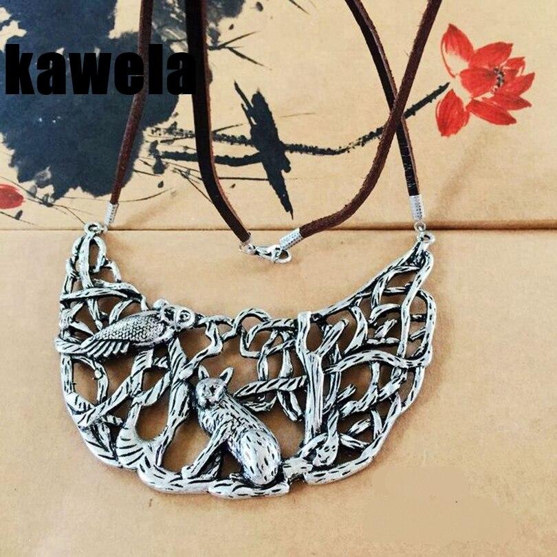 Винтажное ожерелье из кожи и сплава с животными, бесплатная доставка