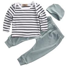 Newest 3PCS Set Newborn Kids Baby Boys Girls Outfits Cotton Stripped O-neck Clothes T-shirt+Pants+Hat Size 0-24M