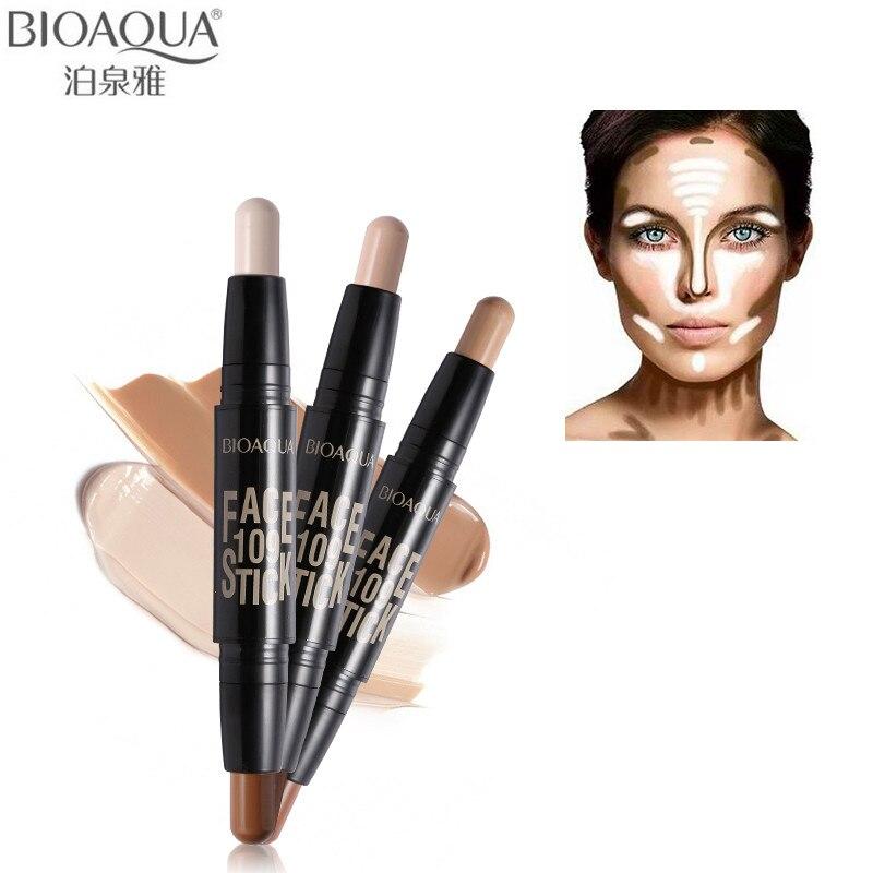 Бренд BIOAQUA, двойная головка, 3D бронзатор, хайлайтер, карандаш для лица, макияж, консилер, ручка, тональный крем, текстура, Контурный карандаш