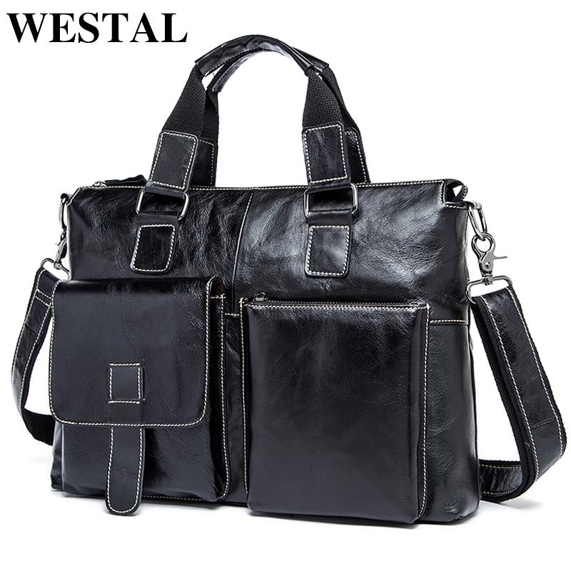 WESTAL-حقيبة جلدية أصلية للرجال ، حقيبة فاخرة للرجال ، حقيبة كمبيوتر محمول ، طراز عتيق