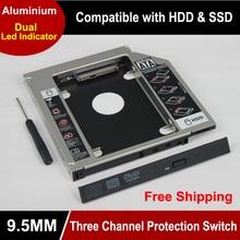 Universel 2.5 2nd 9.5mm ssd Hd SATA disque dur disque dur HDD Caddy adaptateur baie pour Cd Dvd Rom optique baie