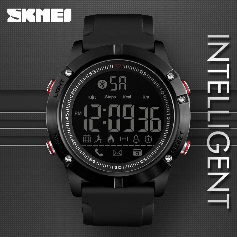 Relojes de pulsera digitales deportivos Bluetooth SKMEI, reloj inteligente de moda para hombre, podómetro, cámara remota de calorías, relojes militares LED, reloj