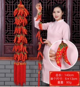home Company shop wedding Party gift festive mascot good luck Mascot Money Drawing propitious Red pepper hanging ornament  5PCS