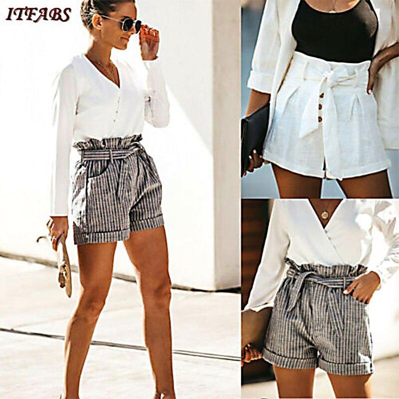 2019 Fashion Women Ladies Beach Summer Striped Sashes Shorts Sports Running Gym Hot Trousers S-XL