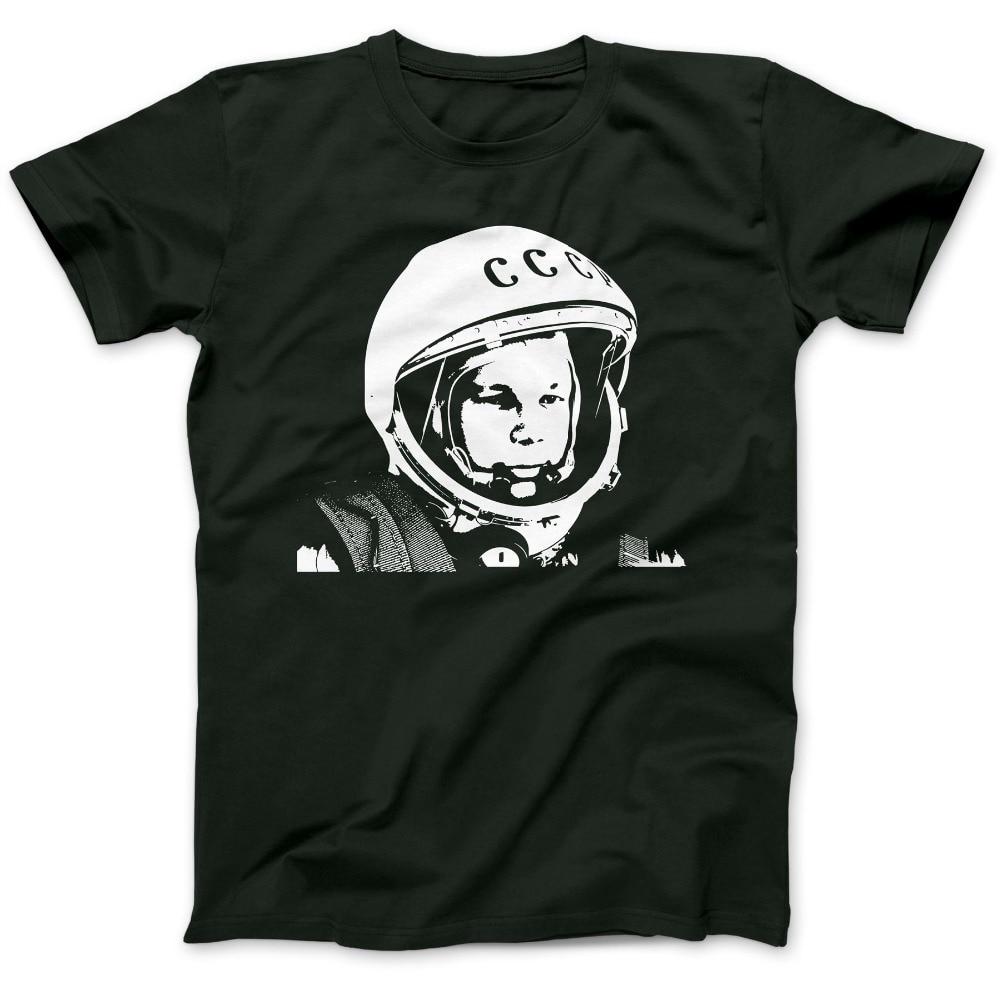 Verano 2019 100% de algodón de 100% de algodón de impresión para hombres de verano o-cuello Yuri Gagarin tributo astronauta soviético camiseta