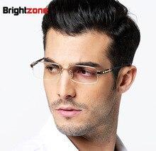 Gentlemen Options Pure Titanium Male Half Rim Eyeglasses Super Light Myopia Progressive Rx Glasses Frame oculos de grau gozluk