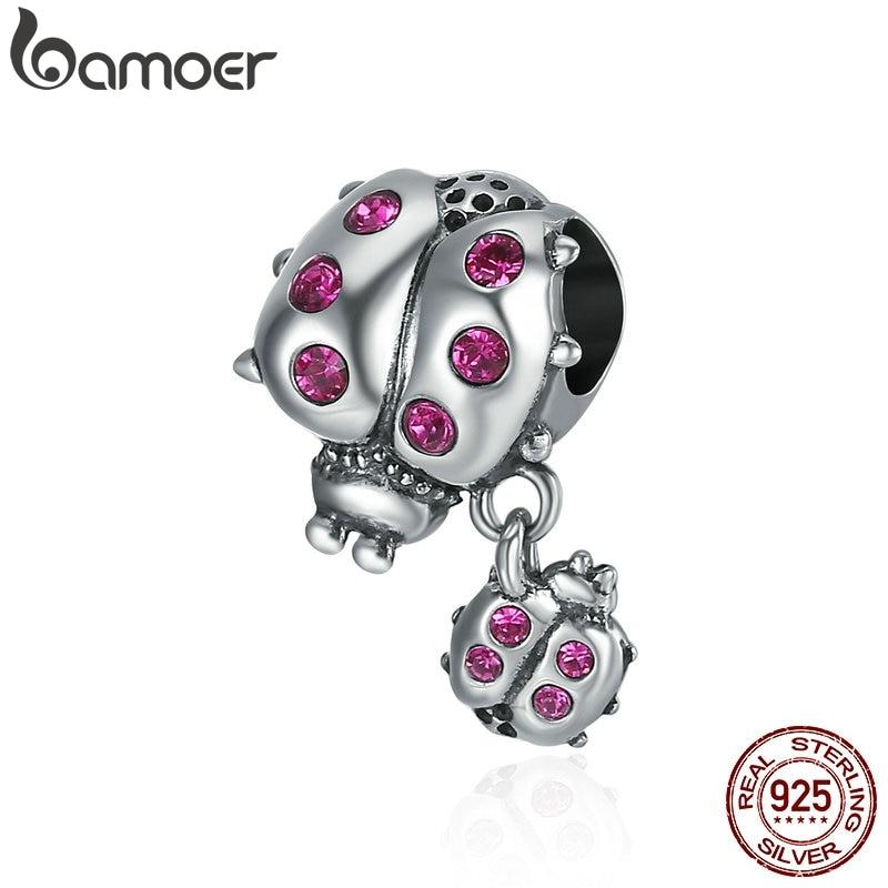BAMOER Genuine 925 Sterling Silver Ladybug Story Clear CZ Dangle Charm Pendant fit Women Charm Bracelet  Necklace Jewelry SCC364