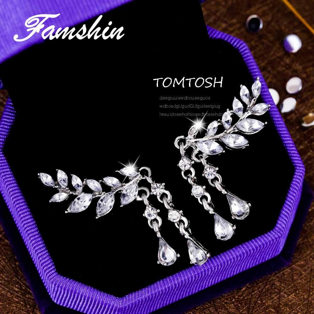 FAMSHIN 2017 Fashion Women's Angel Wings Stud Earrings Rhinestone Inlaid Alloy Ear Jewelry Party Earring Gothic Feather Brincos