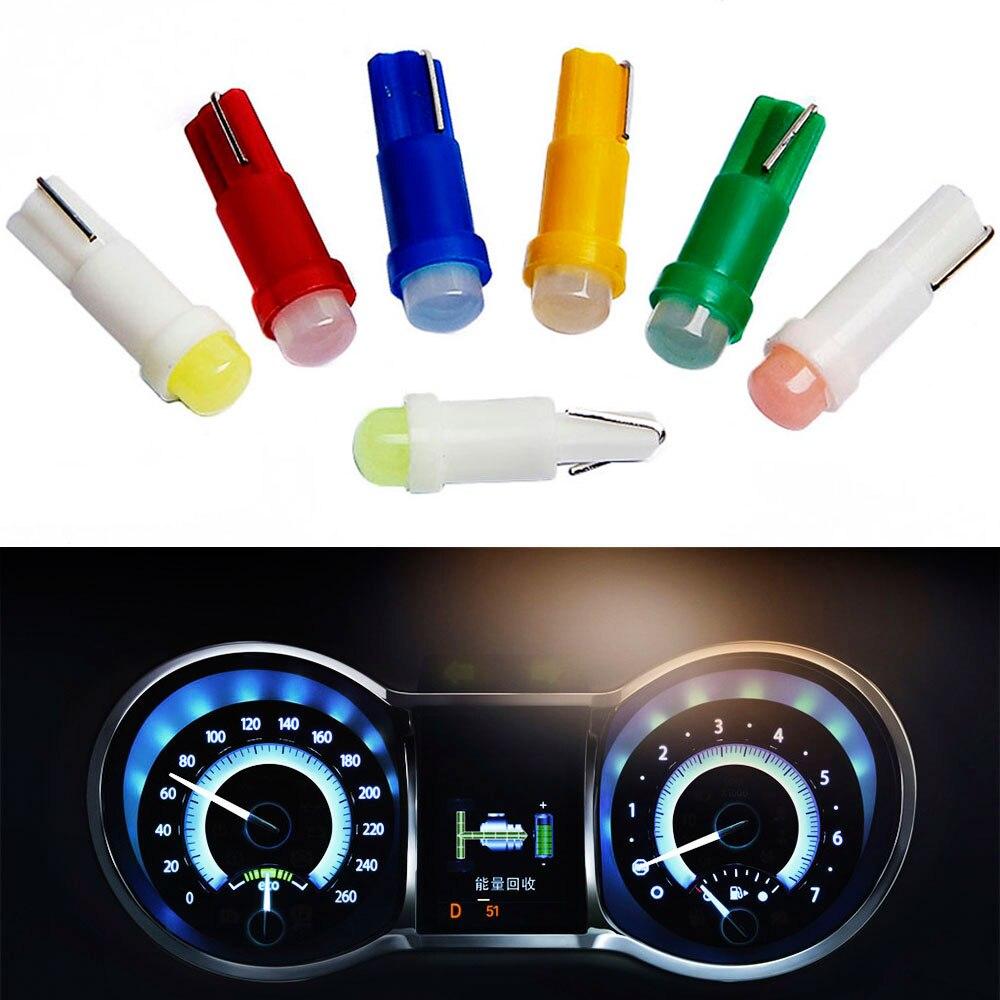 20 piezas Interior del coche T5 Led 1 SMD DC 12V Luz de cerámica para salpicadero instrumento de calibre de cerámica lámpara de luz de cuña lateral para coche