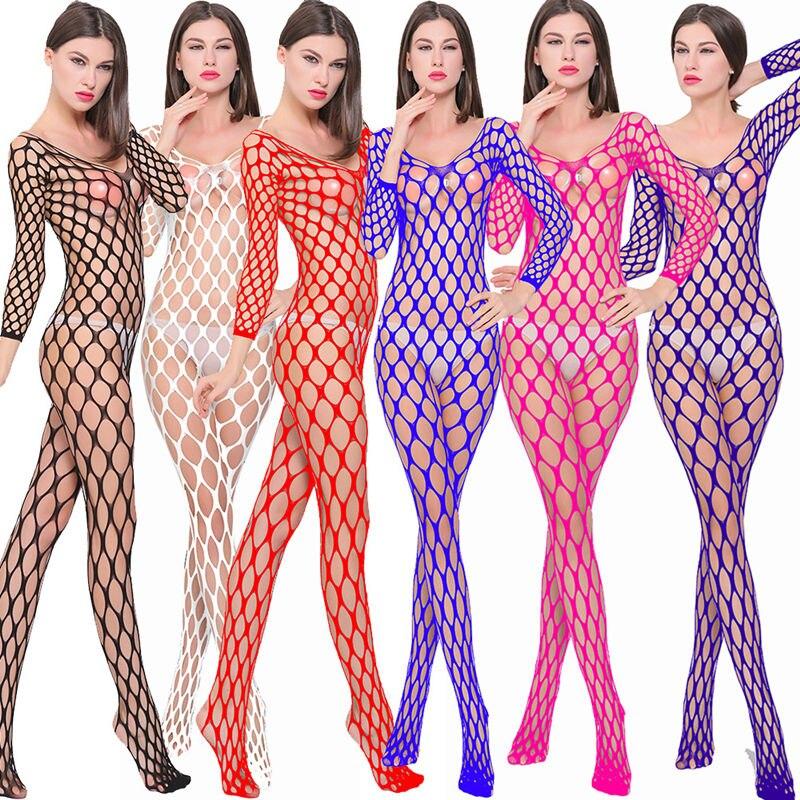 Sexy Sheer Mesh Fishnet Body Stockings Women Erotic Lingerie Porno Sex Underwear Open Crotch Teddies Bodysuits Bodystockings