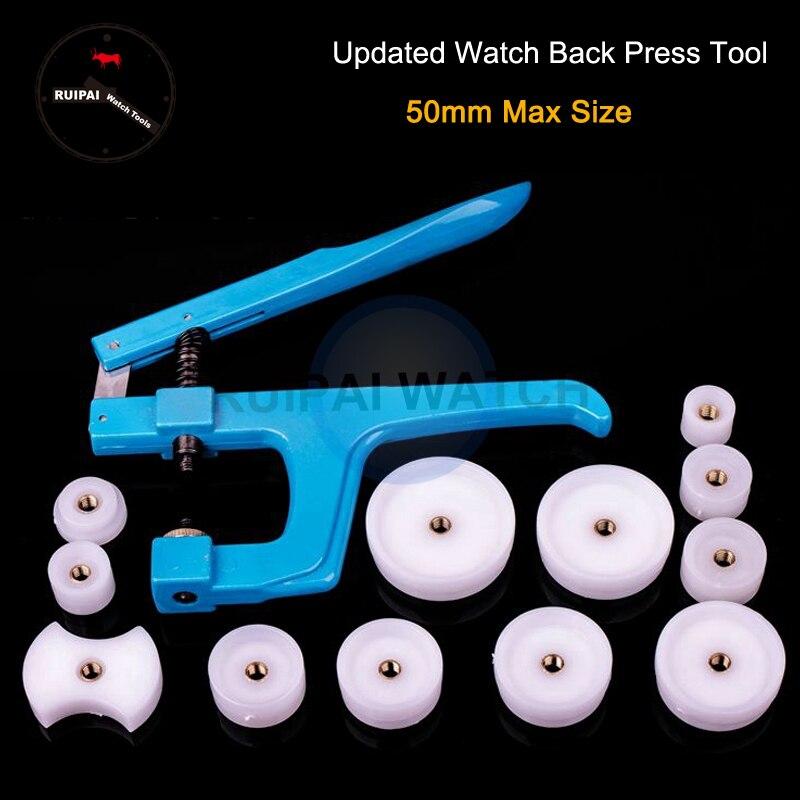 Nueva herramienta de reloj, carcasa trasera de reloj de mano, herramienta de prensa, herramienta de Cierre trasero de reloj con 12 uds, troqueles de Nylon para reparación de relojes de relojero