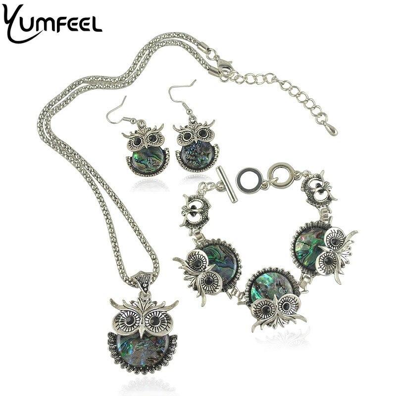 Yumfeel Vintage en forme danimal ensemble de bijoux en métal avec Antique argent plaqué coquille hibou Bracelet collier et boucle doreille ensemble de bijoux