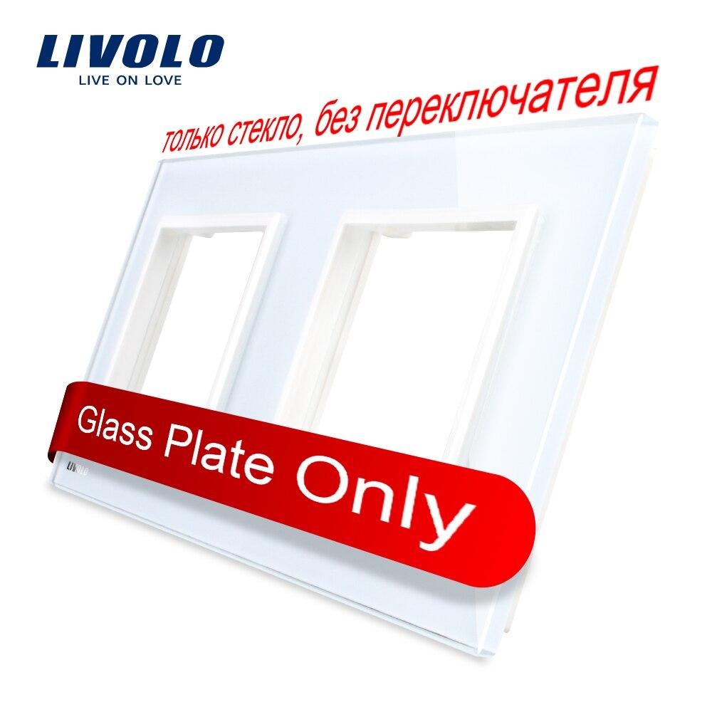Livolo роскошное белое жемчужное Хрустальное стекло, стандарт ЕС, двойная стеклянная панель для настенного выключателя и розетки, C7-2SR-11 (4 цвета)